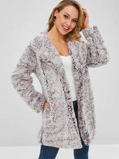Open Front Loose Fluffy Coat - Puce 2xl