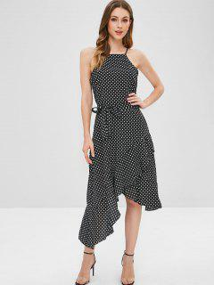 Polka Dot Belted Asymmetrical Ruffle Dress - Black M