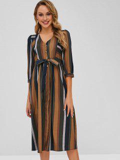 Gestreiftes Kleid Mit Knopfleiste - Multi L