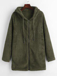 Furry Fleece Zip Up Long Hoodie - Army Green Xl