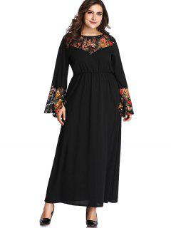Lace Panel Floral Plus Size Maxi Dress - Black 4x
