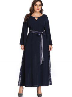 Stripes Keyhole Plus Size Maxi Dress - Midnight Blue 4x