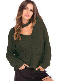 Corte Suéter De Gran Tamaño Con Cuello De Gargantilla - Ejercito Verde Xl