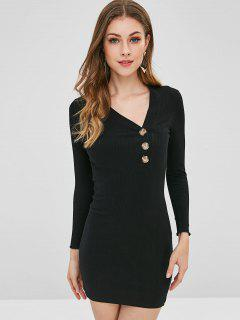 Buttoned Ribbed Bodycon Dress - Black L