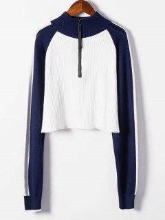 Suéter De Bloque De Color Recortado De Media Cremallera - Blanco