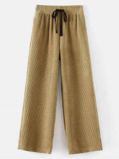 Drawstring Corduroy Wide Leg Pants - Light Khaki L