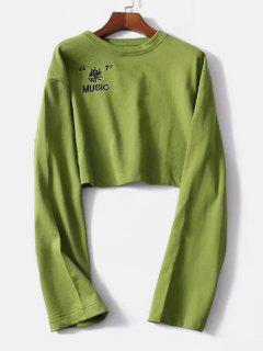 Crop Music Embroidered Sweatshirt - Pistachio Green M