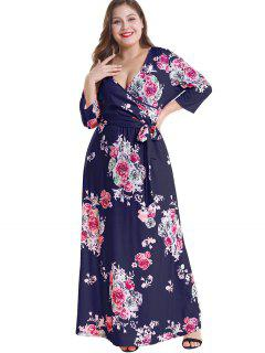 Floral Plus Size Surplice Maxi Belted Dress - Deep Blue 2x