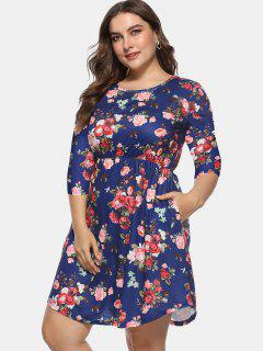 Floral Plus Size A Line Dress - Deep Blue 3x