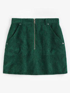 ZAFUL Half Zip Pockets Corduroy Skirt - Medium Forest Green L