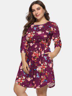 Floral Plus Size A Line Kleid - Pflaumekuchen 4x
