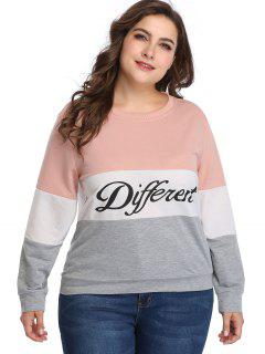 Different Graphic Color Block Plus Size Sweatshirt - Multi 3x