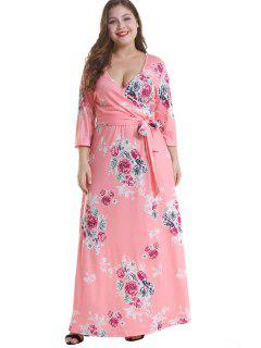 Floral Plus Size Surplice Maxi Belted Dress - Pink 3x