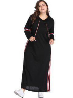 Striped Slit Plus Size Kleid Mit Kapuze - Schwarz 4x