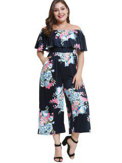 Off Shoulder Plus Size Floral Flounce Jumpsuit - Deep Blue 1x