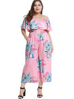 Off Schulter Plus Size Floral Volant Jumpsuit - Rosa 3x
