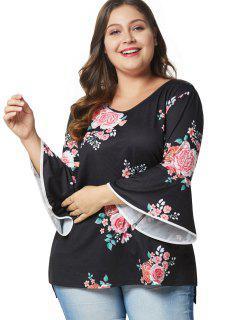 Flare Sleeve Slit Plus Size Floral Tee - Black 1x