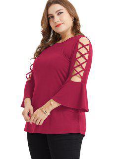 Camiseta De Celosía Flare Manga Tamaño Más Túnica - Rosa Roja 4x