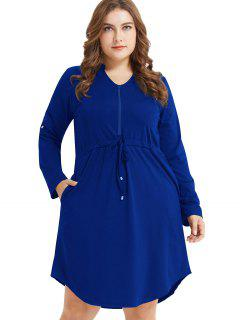 Long Sleeve Plus Size Half Zip Drawstring Dress - Cobalt Blue 2x