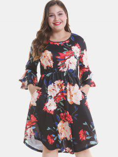 Floral Plus Size Tier Flare Sleeve Dress - Black 1x