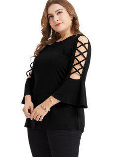 Lattice Flare Sleeve Plus Size Tunic Tee - Black 4x