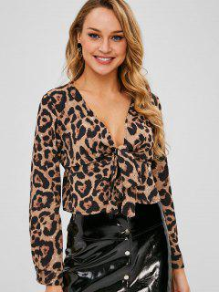 Tie Front Leopard Blouse - Leopard M