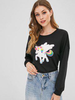 Unicorn Embroidered Drop Shoulder Sweatshirt - Black S