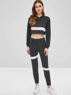Color Block Heather Crop Pants Set - Black M