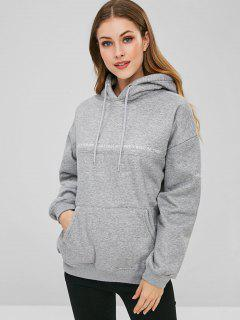 Letter Embroidered Drop Shoulder Fleece Hoodie - Gray M