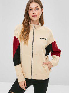 New York Graphic Color Block Sweatshirt - Apricot S