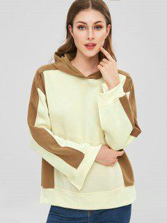 Fleece Slit Color Block Hoodie - Beige S