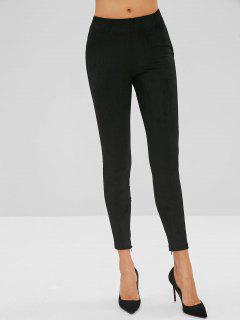 Zippered Ankle Suede Skinny Pants - Black M