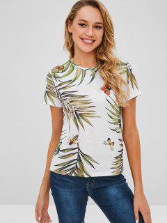 Lizard Butterfly Leaves Print Tee - White L