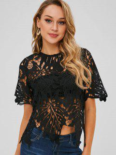 Short Sleeve Openwork Cutout Top - Black L