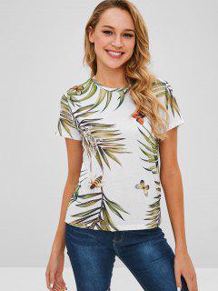 T-shirt Imprimé Feuilles De Papillon Lézard - Blanc M