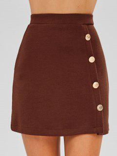 Buttoned Knit Skirt - Brown M