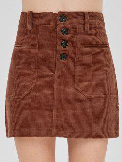 A Line Button Fly Corduroy Skirt - Orange Salmon M