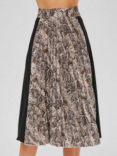 Falda Plisada Con Estampado De Piel De Serpiente - Multicolor M
