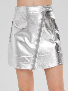 Zippered Metallic Skirt - Silver L