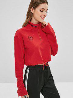 Half-zip Drawstring Hem Graphic Sweatshirt - Lava Red S