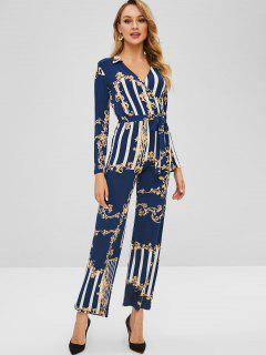 Floral Print Striped Belted Wide Leg Jumpsuit - Lapis Blue M