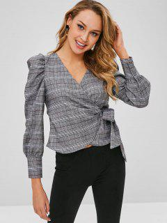 Plaid Wrap Top - Multi L