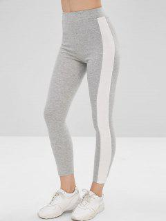 High Waisted Side Striped Leggings - Gray Cloud