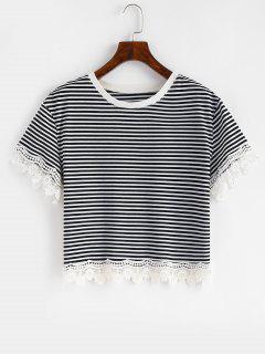 T-shirt Panneau Rayé Festonné Au Crochet - Noir S