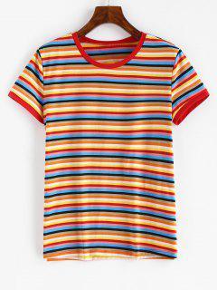 T-shirt Coloré Rayé à Manches Courtes - Multi S