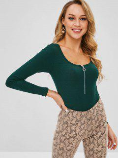 Half-zip Ribbed Bodysuit - Dark Forest Green M