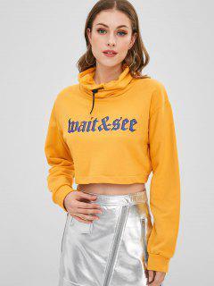 Sweat-shirt Court Graphique à Col Bénitier - Jaune Clair M