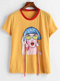 Camiseta Con Estampado De Niña - Amarillo L
