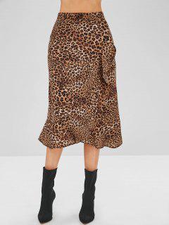 Leopard Ruffle Tulip Skirt - Leopard S