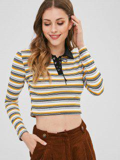 Lace Up Striped Crop Tee - Multi-a S